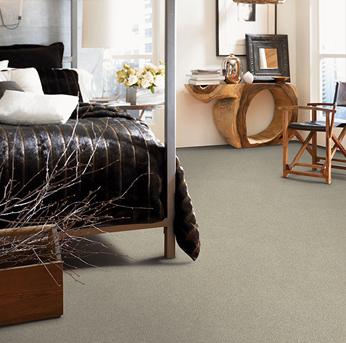 Bedroom scene with green Alexander Smith carpet